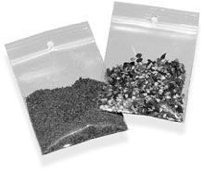 """Picture of POLY BAGS RECLOSEABLE w/HANG HOLES 4 MIL 6 X 8"""""""